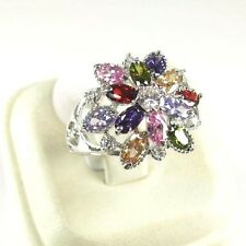 R#10120 simulated Multicolored Multi-gemstone ladies silver ring size 8.25