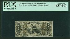 """U.S. 1864-69 50 Cents Fractional Currency Fr-1360 Certified Pcgs """"Choice New-63"""""""