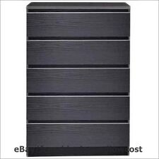 Bedroom Furniture Laguna 5 Drawer Chest of Drawers Dresser Modern Wood Black NEW