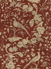 Wallpaper Van Luit Gold Tan & Black Floral Vine Toile With Pheasants on Rust Red