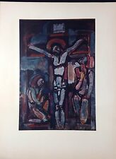 "1954 Vintage Full Color Art Plate ""CRUCIFIXION"" by GEORGES ROUAULT Lithograph"