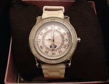Juicy Couture Watch With Crystals White Silicon Belt NEW