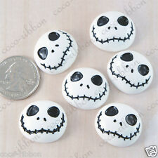 25mm 12pc White Skull Skeleton Halloween Flatback Resin Cabochons