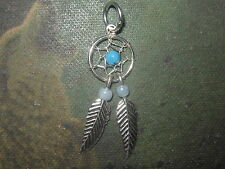 SMALL 27MM 925 STERLING SILVER SOUTHWEST TURQUOISE DREAM CATCHER CHARM PENDANT