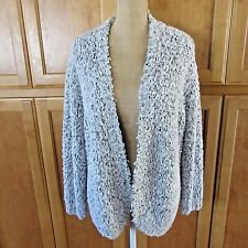 Kensie White Black Gray Boucle Long Sleeve Cardigan Sweatercoat Sweater Sz L