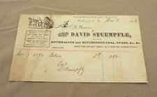 WILLIAMSPORT, PA 1886 DAVID STUEMPFLE DEALER IN COAL, STONE ETC., RECEIPT