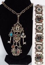 Unsigned Florenza Necklace Bracelet set Etruscan Byzantine style Locks & Keys
