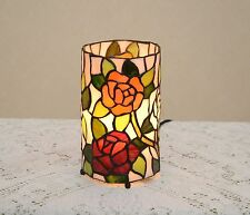 Stained Glass Tiffany Style Round Desktop Rose Flower Night Light Table Lamp.