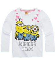 Girls Long Sleeve T-Shirt Top Minions Paw Patrol Secret Life Of Pets Age 2-10