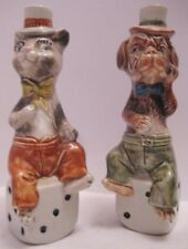 Old Pr Ceramic Cat Dog Sitting on Dice Liquor Decanters Vino Rosso Monalto Italy