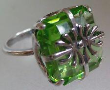 Anello. verde svarowsky cristallo misura 18mm Argento Placcato