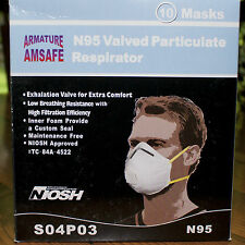 N95 Valved Particulate Respirator Mask Armature Amsafe NIOSH approved 10/box NEW