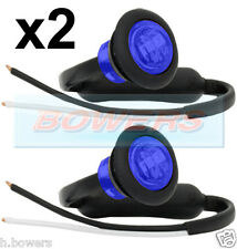 "2 x 12V/24V BLUE SMALL 1"" ROUND LED BUTTON MARKER LAMPS/LIGHTS UNIVERSAL MARINE"