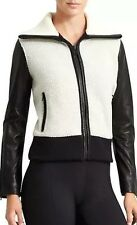 Athleta Derek Lam 10 C Elevate Sherpa Fleece Leather Jacket Coat $428 NWT Sz XL