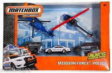 Matchbox Mission Force Police 5 Pack 2 Police Helicopter Police Car SUV SWAT