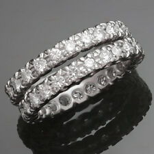 Retro Vintage Platinum Diamond Ring Guards Bands Pair