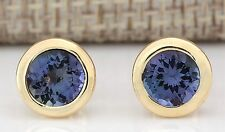 2.60CTW NATURAL TANZANITE EARRINGS 14K SOLID YELLOW GOLD
