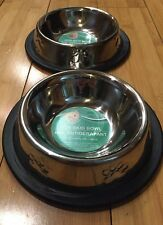 2 Pet Bowls Stainless No Tip Non Slip Food Water Dish With Paw Print Puppy-Cat.