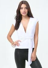 BEBE WHITE BROCK DEEP V PEPLUM NEW NWT TOP SHIRT MEDIUM M
