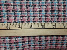 Vintage Pink Black White Houndstooth Wool Blend Fabric 104X60 2.8yds