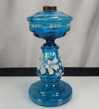 Antique Enameled Blue Glass Kerosene Oil Lamp 45001