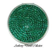 Emerald Green Crystal Silver Metal Compact Make-up Mirror w/ Swarovski Crystals