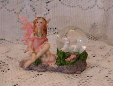"PETITE PINK FAIRY AND UNICORN SNOW GLOBE RESIN FIGURINE 3"" X 4"" X 2"" NEW  ARDOWN"