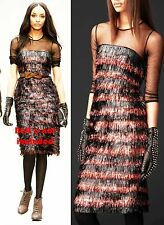 $2795 Burberry Prorsum 10 12 44 Metallic Eyelash Fringe Dress Skirt Cherry Women