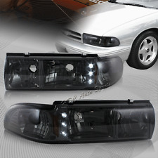 For 1991-1996 Chevy Impala/Caprice LED Chrome Housing Smoke Lens Headlights Lamp
