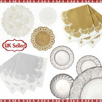 CHRISTMAS GOLD & SILVER HIGH QUALITY PARTY TABLE BUFFET PLATES NAPKINS DOILIES
