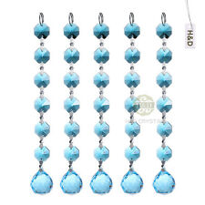 5 Baby Blue Crystal Prisms Pendant Chandelier Part Hanging Xmas Decor Ornament