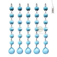 5 Baby Blue Crystal Prisms Pendant Chandelier Part Hanging Xmas Decor Ornament