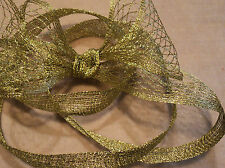 "GOLD METALLIC STRETCHABLE MESH RIBBON - 1.5"" TO 4"" - GREAT BOWS! - BY THE YARD"
