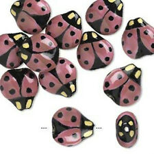 10* Bead,porcelain16x16 mm double-sided pink lady bug