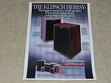 Klipsch Heresy 1980 Speaker Ad, 1 page, Info, Specs, Color, Rare One!