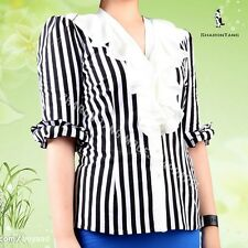 SHARON TANG Modest Apparel Black And White Stripe Knit White Ruffle Top Shirt S