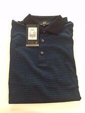 Dunhill Giza Cotton Polo Shirt, Navy & Blue stripe