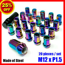 M12X1.5mm STEEL RIMS ACORN WHEELS LUG NUTS TUNER CLOSE ENDED 20 PCS NEO CHROME