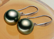 10mm Tahitian Black Peacock Sea Shell Pearl Sterling Silver Drop/Dangle Earrings