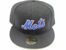 NY Mets Black Custom Wool MLB Throwback New Era 59Fifty Fitted Hat Cap 7-1/2
