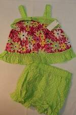 NEW Baby Girls 2 pc Set 3 - 6 Months Pink Green Floral Shirt Diaper Cover Outfit