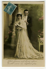c 1913 Pretty Young Lady French BRIDE FASHION BEAUTY marriage photo postcard