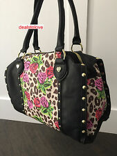 NWT Betsey Johnson RareTin Can Safari Satchel Handbag Bag Purse Flowers Studs