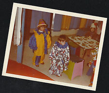 Old Vintage Photograph Two Cute Little Children Wearing Clown Costumes Halloween