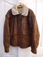 FIELD & STREAM  SHEARLING COLLAR LEATHER BOMBER FLIGHT JACKET MENS LARGE L