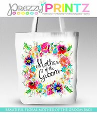 PERSONALISED FLORAL WREATH WEDDING MOTHER OF THE GROOM TOTE SHOPPING BAG  GIFT
