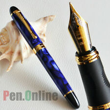 JINHAO X450 18KGP 0.7mm BROAD NIB FOUNTAIN PEN ROYAL BLUE MARBLE AND GOLDEN TRIM