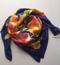 "NWT RALPH LAUREN FLORAL 100% SILK SQUARE SCARF 36"" x 36"" Navy MSRP: $75"