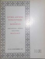 1969 Catalogue de Vente Drouot LIVRES ANCIENS ROMANTIQUES ET MODERNES