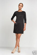 Ladies Shift Dress With Pockets 3/4 Sleeve Crew Neck Party Size 8 10 12 14 FA434